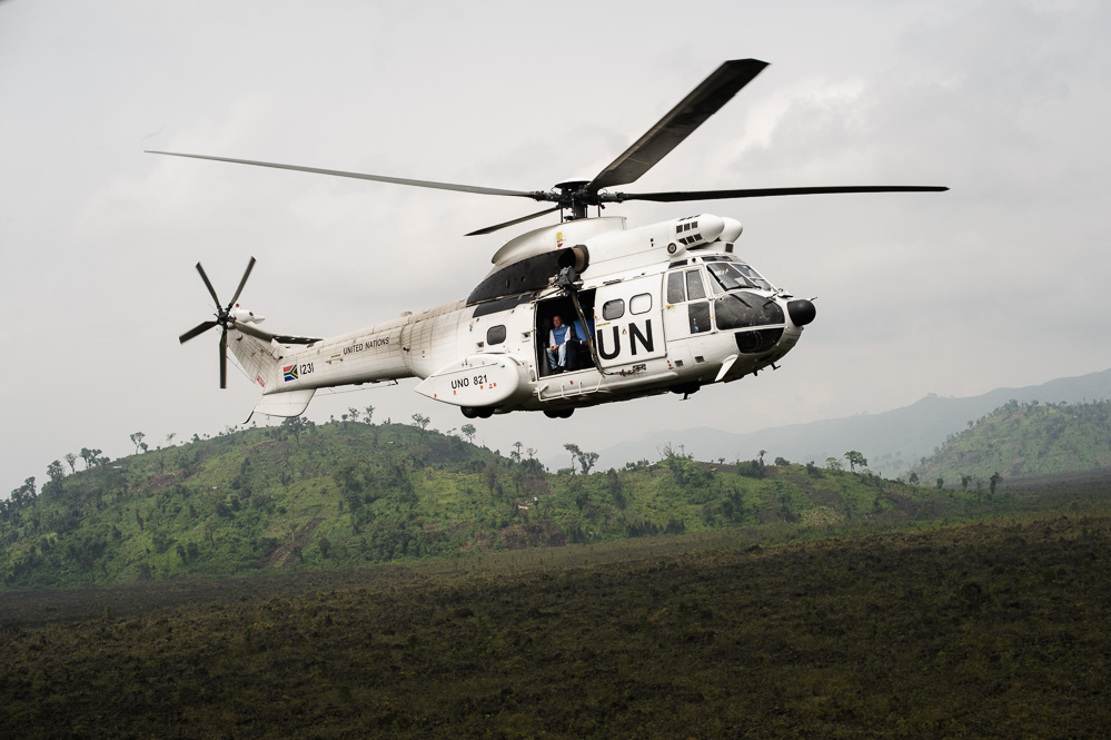 One of our two UN choppers, flying to Kiwanja over the Virunga National Park