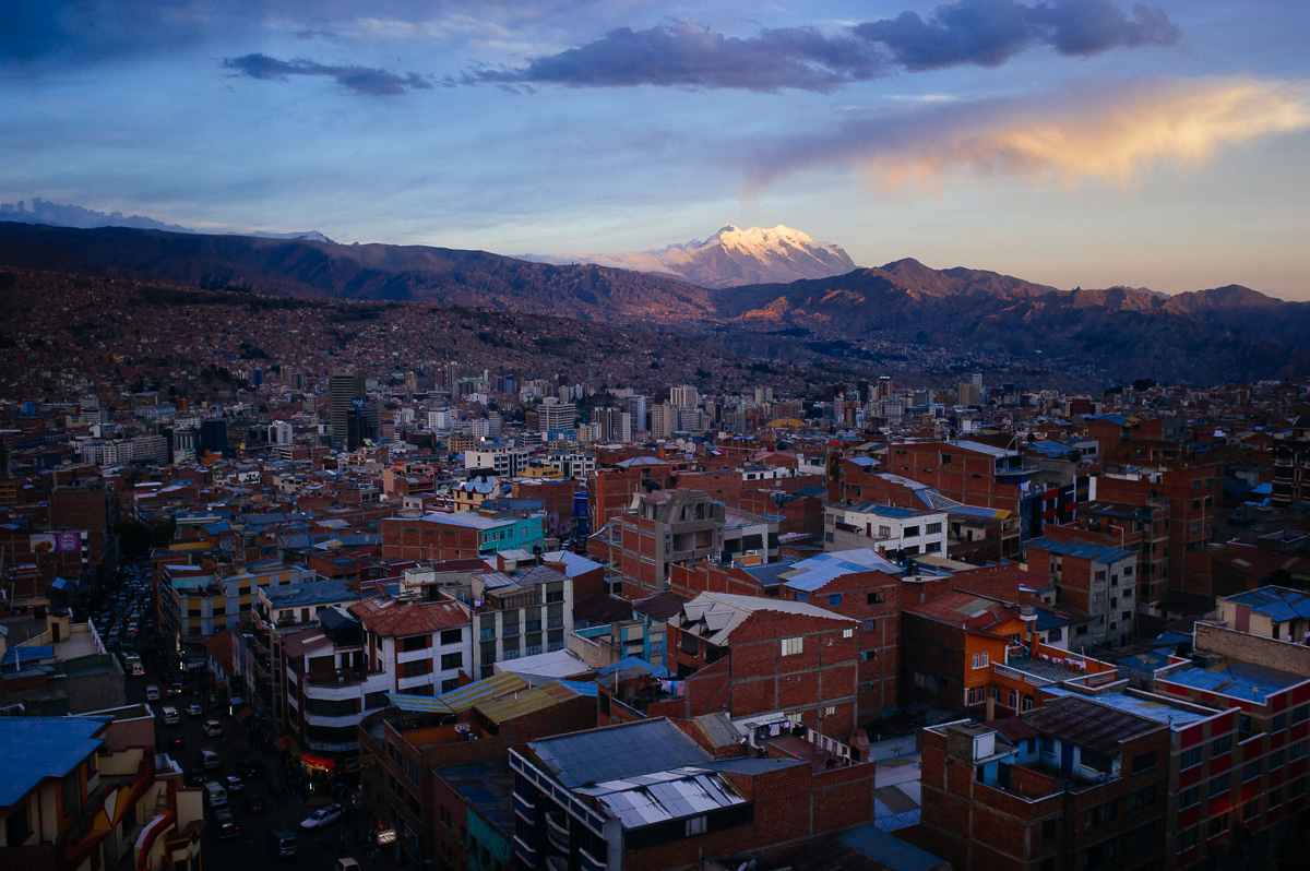 The sun sets over the city of La Paz, sitting in the heart of the Andes mountain range in Bolivia.