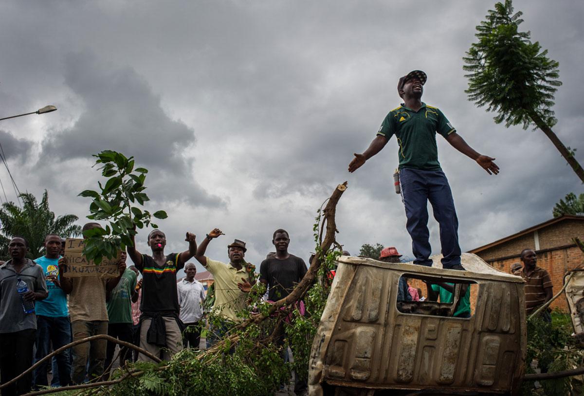 Protestors demonstrate in Bujumbura, last May