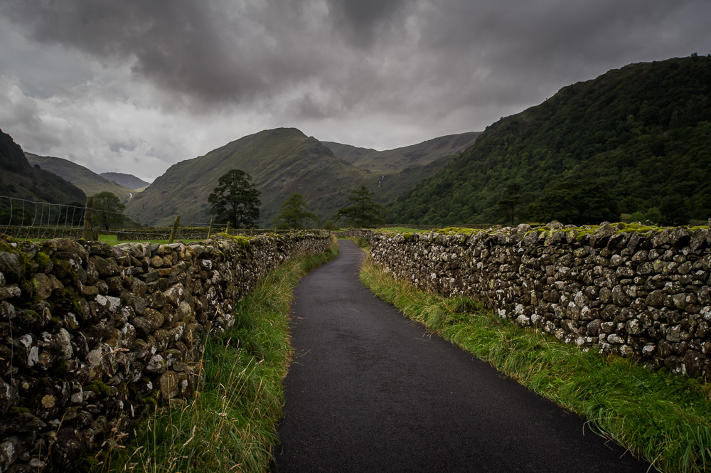 The road to Thorneythwaite Farm, in the Borrowdale Valley.