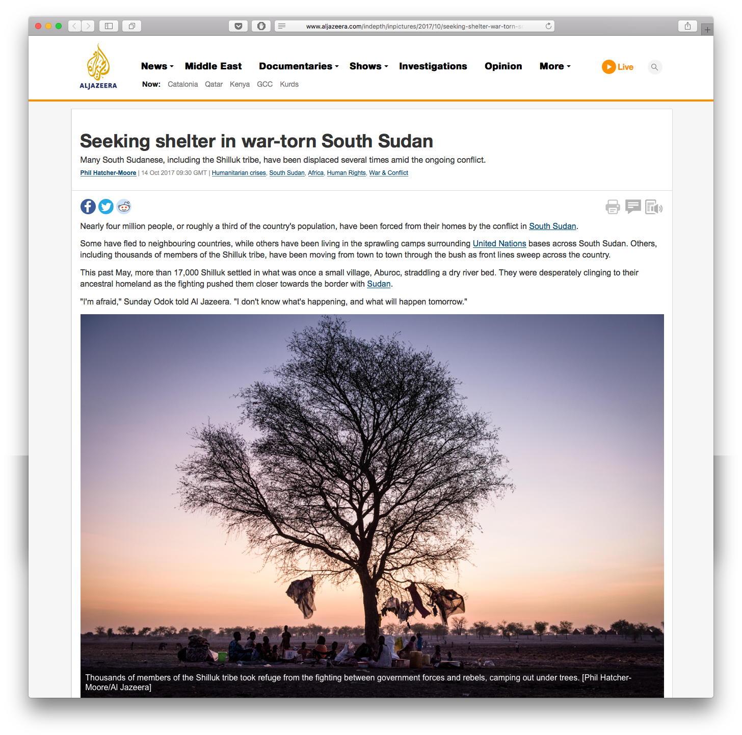 Seeking shelter in war-torn South Sudan — Online Work — Phil
