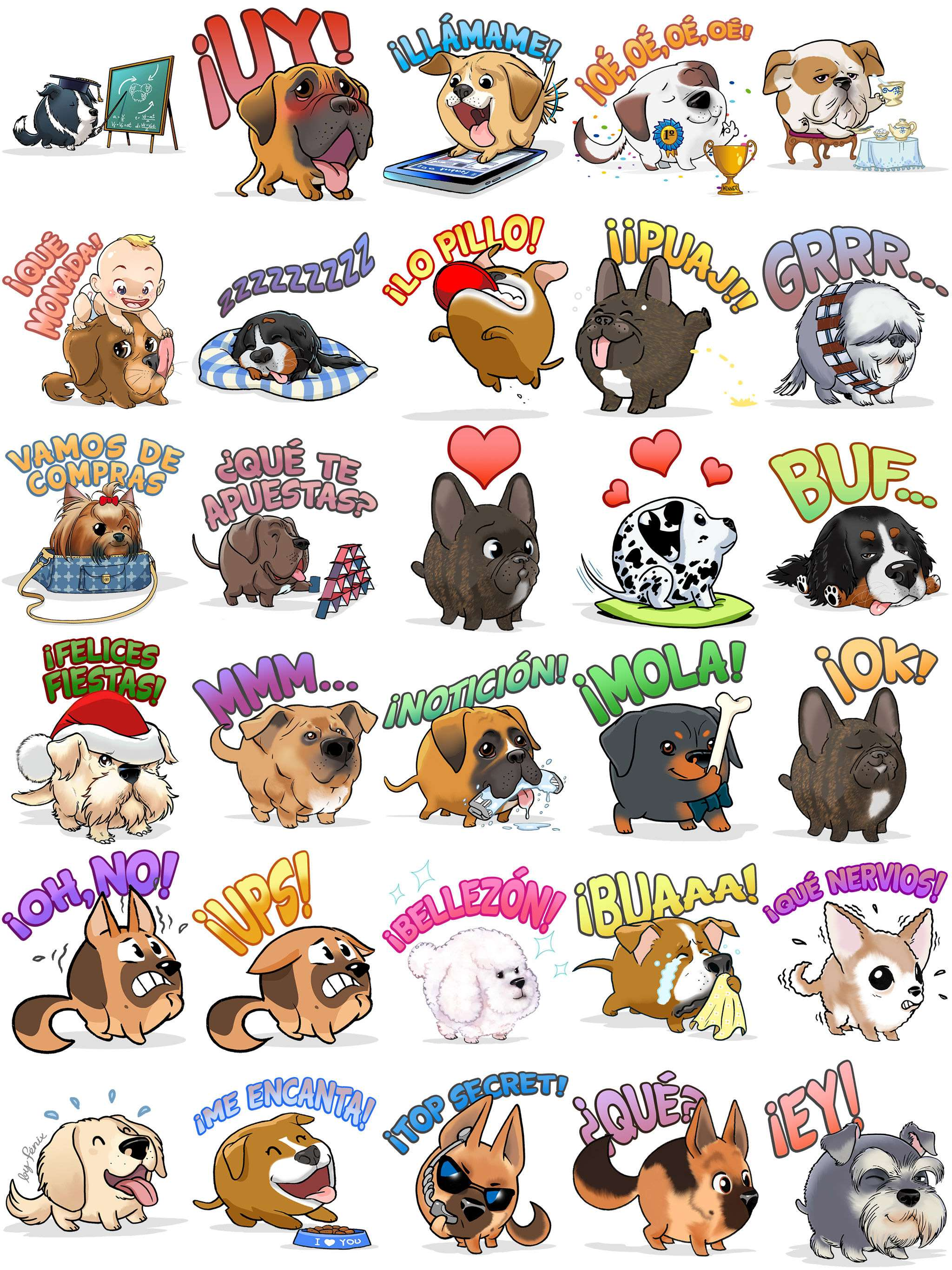 My Edoji Stickers.  Border Collie .  Great Dane .  Dalmatian. miniature Schnauzer. Rottweiler. British Bulldog. Golden Retriever. Bernese Mountain dog. Yorkshire Terrier.   Mongrel. Boxer. American Staffordshire Terrier. Poodle. Chihuahua. German Shepherd. French Bulldog. Argentinian Mastiff. Pyrenean Mountain.