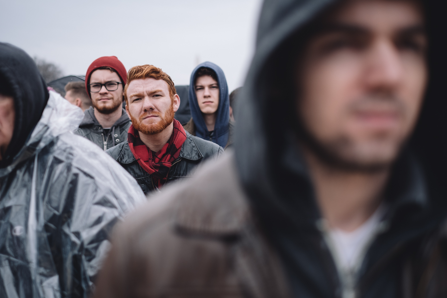 """Aaron Payne (center-left)of Tampa, Flordia said he was """"trying to be optimistic about it"""""""