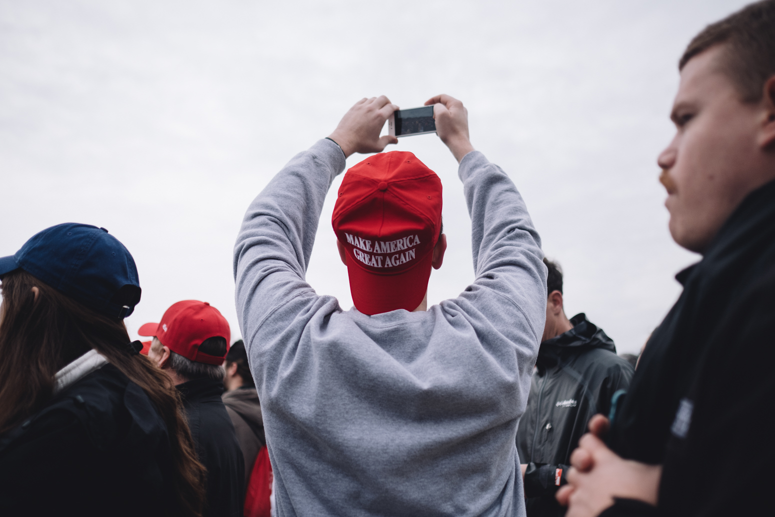 People gather on the National Mall Jan 19th, 2017 for the Inaguration of Donald Trump.