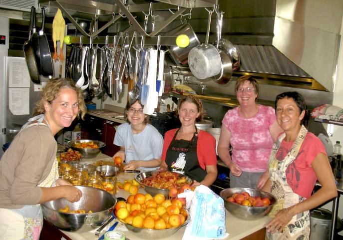 photo courtesy of Maura Jess; Canning peaches at Daybreak Cohousing