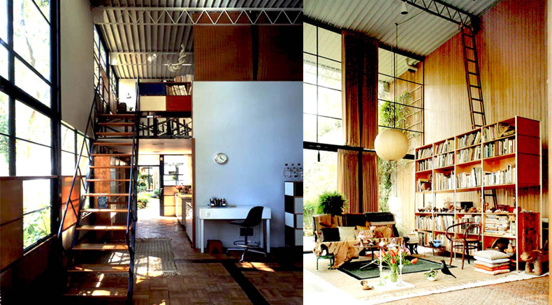 Eames home office interior on the left, Eames House interior on the right. Both are views west toward the Pacific Ocean.