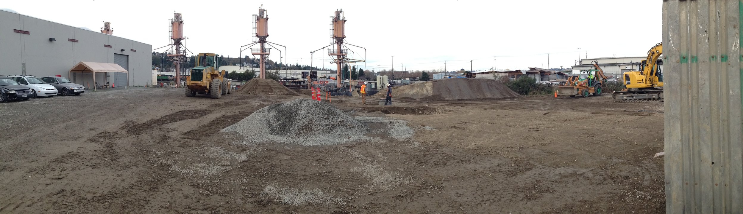 The R&D building site during site remediation and civil work.