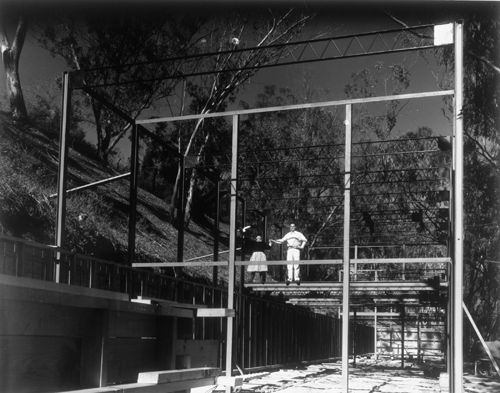 Charles & Ray Eames on site during construction of their home (with no tie-offs or PPE!)