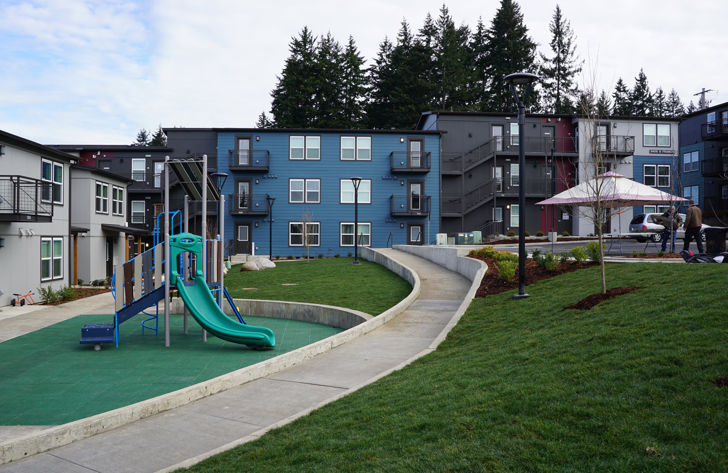 view of the pocket park playground