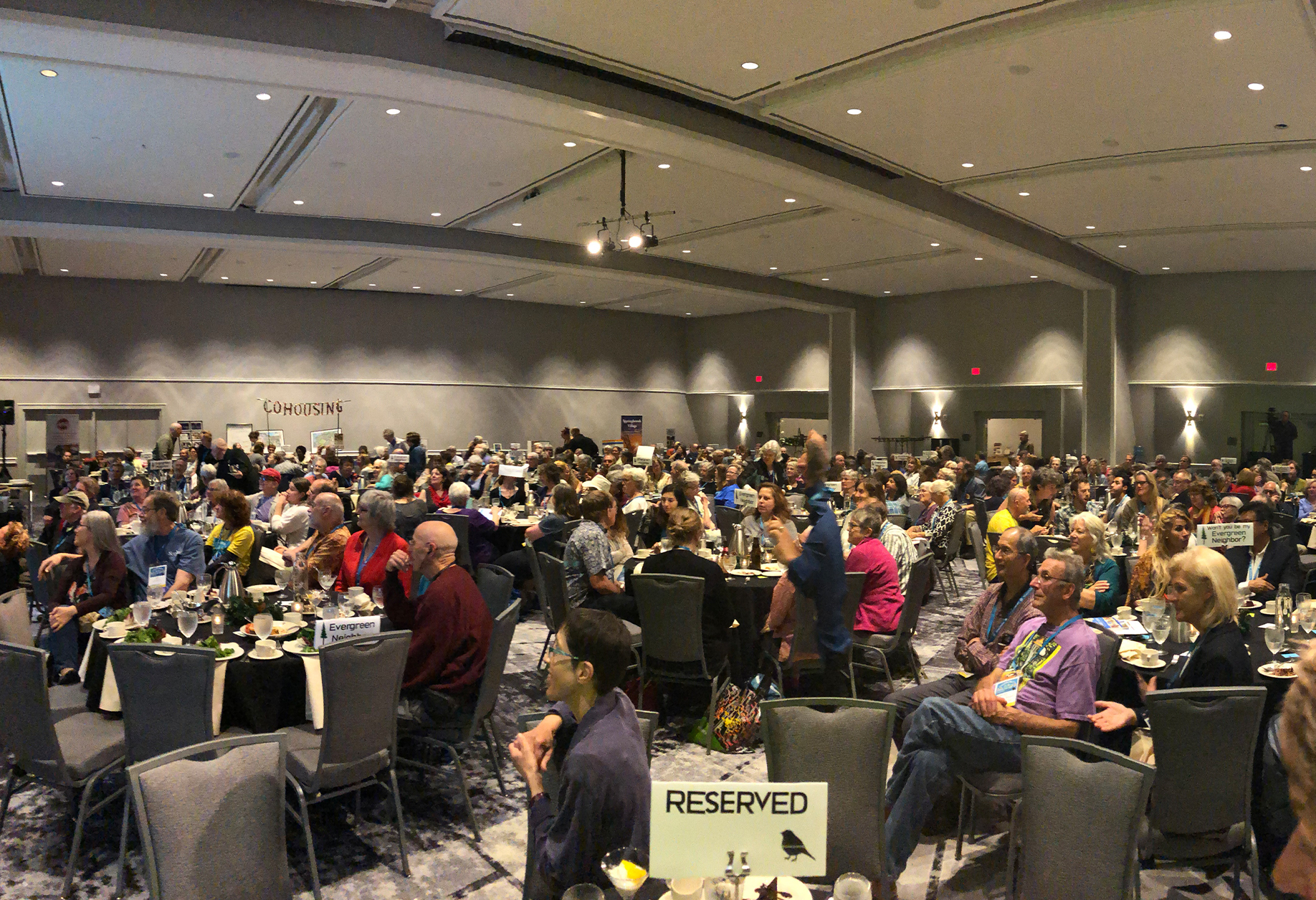 The main hall at the 2019 Cohousing Conference