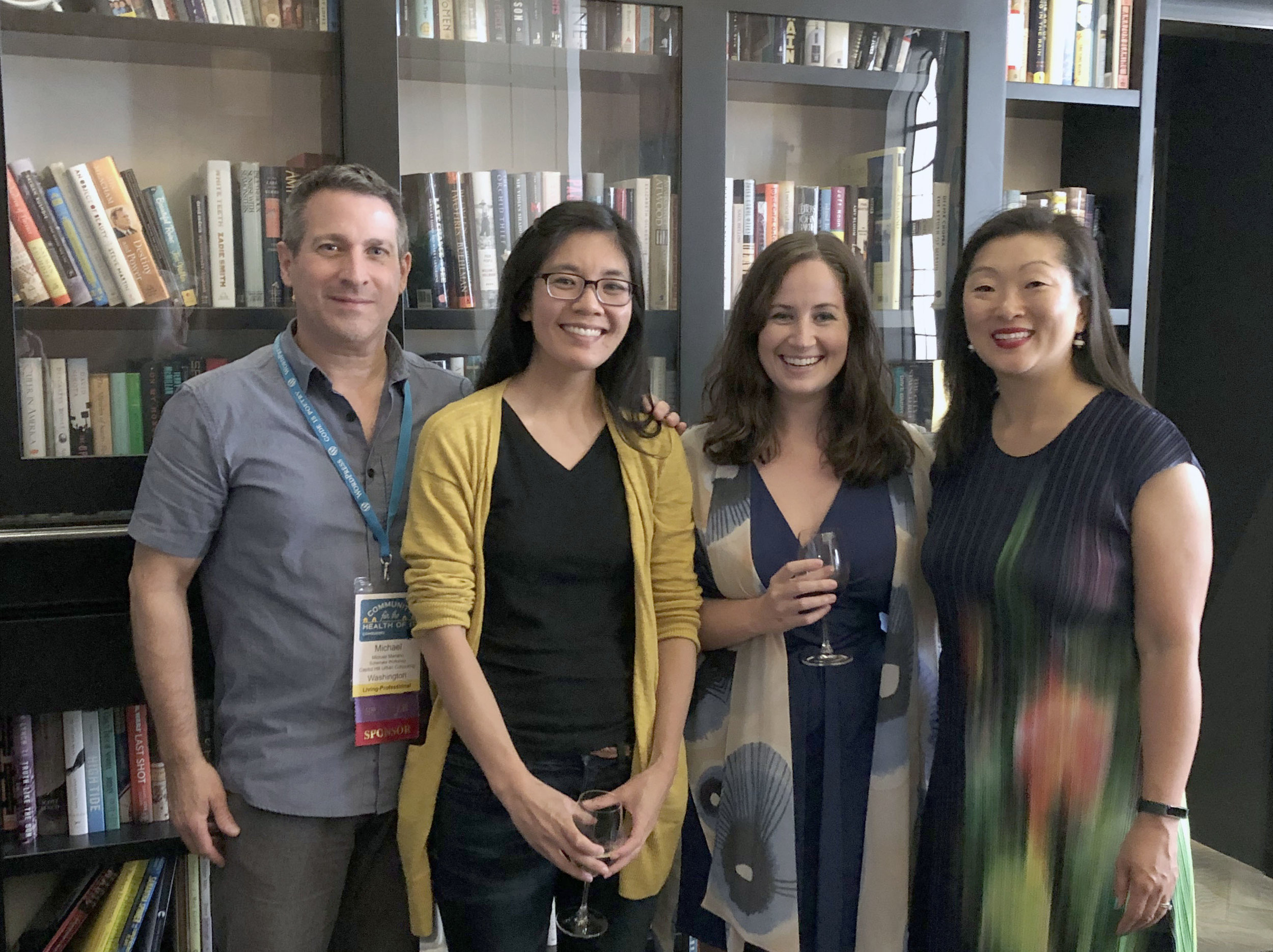 (from left to right) Mike, Joann, Tegan, and Grace at a happy hour Schemata hosted for members of our ongoing cohousing projects
