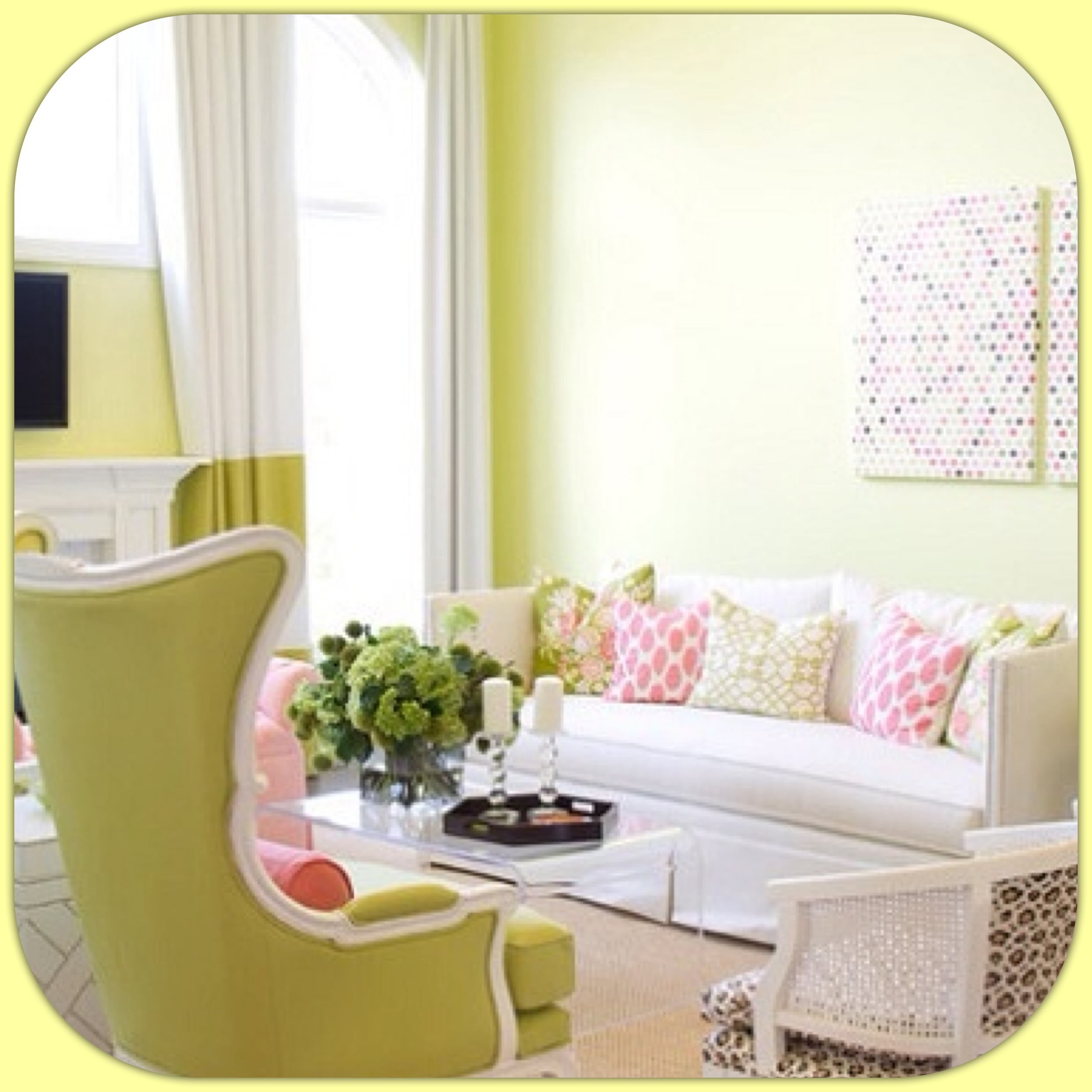 A room with bright warm colors.