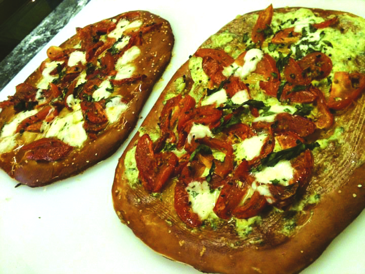 Margherita pretzel flatbreads