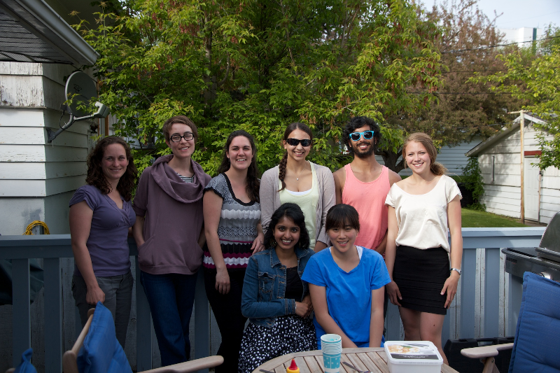 Lebel and Bray Lab BBQ, June 2013. The summer the undergrads ruled the lab. From left to right: Catherine Lebel, Signe Bray, Andrea Civitarese, Sherene Vazhappilly, Gillian Bonvicini, Ivy Cho, Sanjay Achal, Alex Gustafson