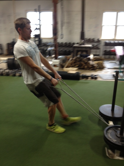 Pulling the sled at Garage Strength, with the new Dux handles I made for Dane.