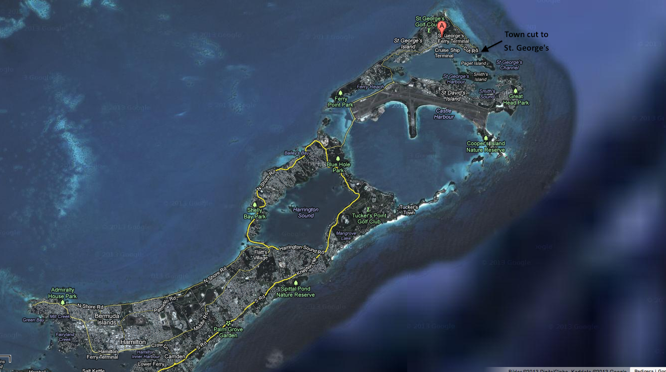"St. George's in Bermuda, the ""town cut"" where they will enter is marked with a small arrow"