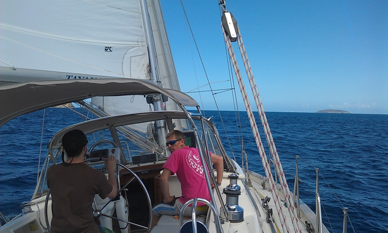 Great sailing, Casey at the helm