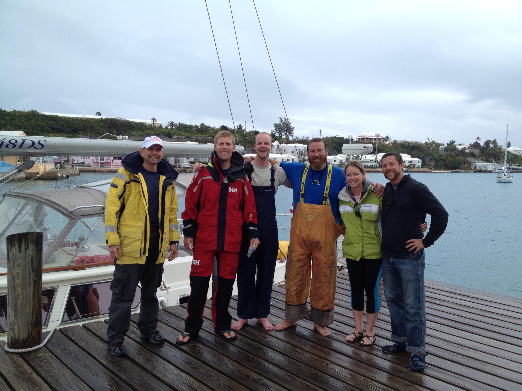 Crew change in Bermuda, from left: David, Andy, Austin, Billy, Lindsey & Casey. Photo by Carole Longendyke