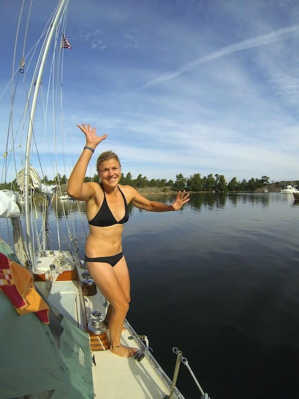 Mia ready for a morning swim in Biskopsön