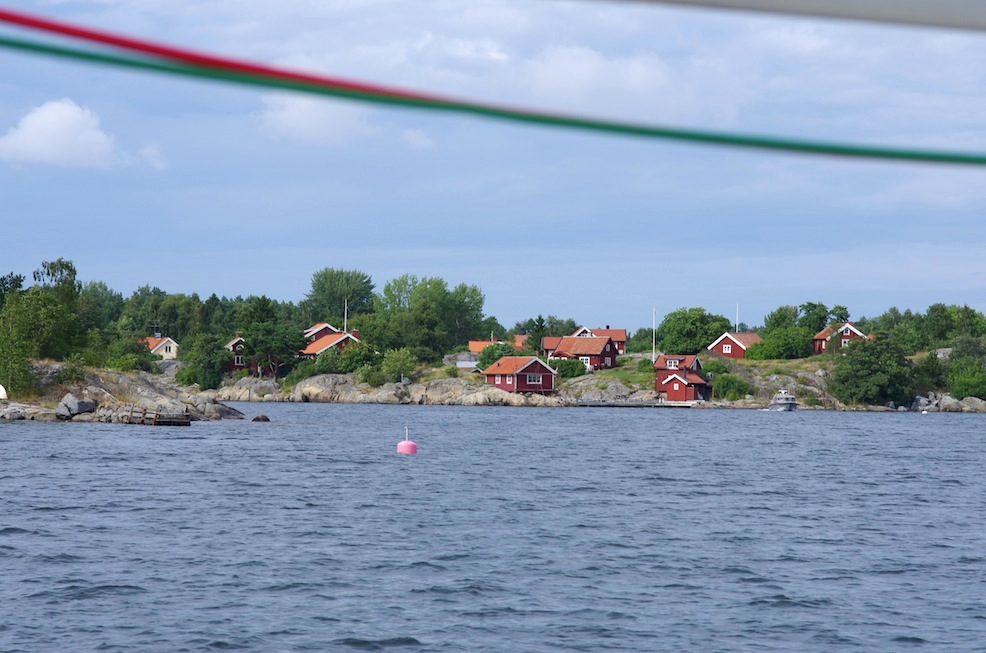 Typical red cottages on the islands outside Stockholm.