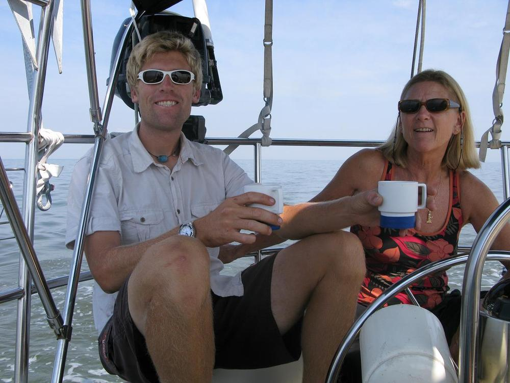 Caption: Me and mom offshore en route to Newport on a Corbin 39 delivery in 2010.