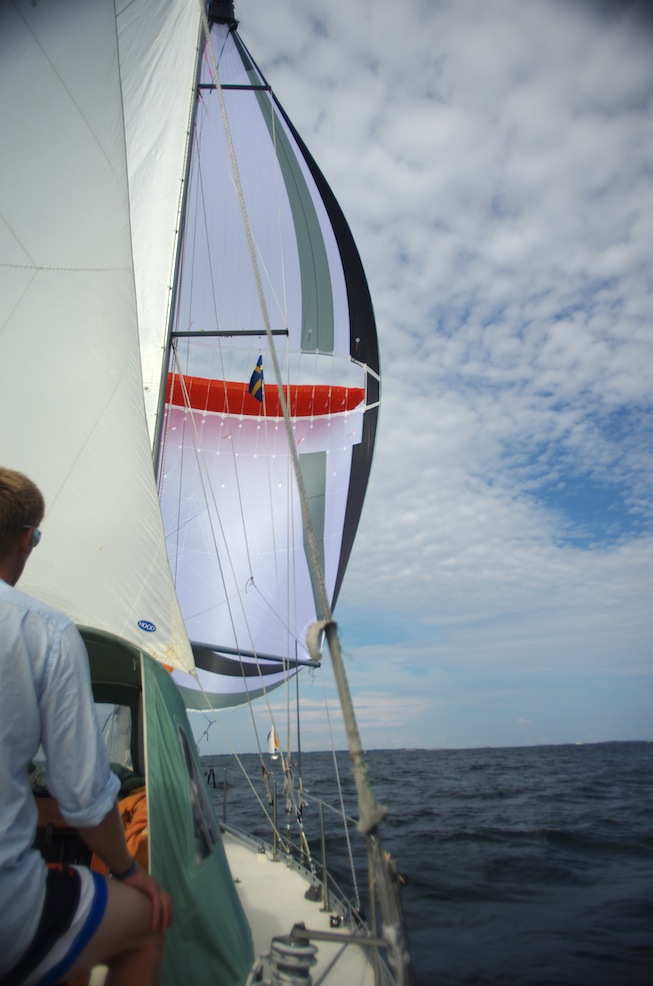 Day two of Parasailor testing - notice the mizzen staysail in the foreground!