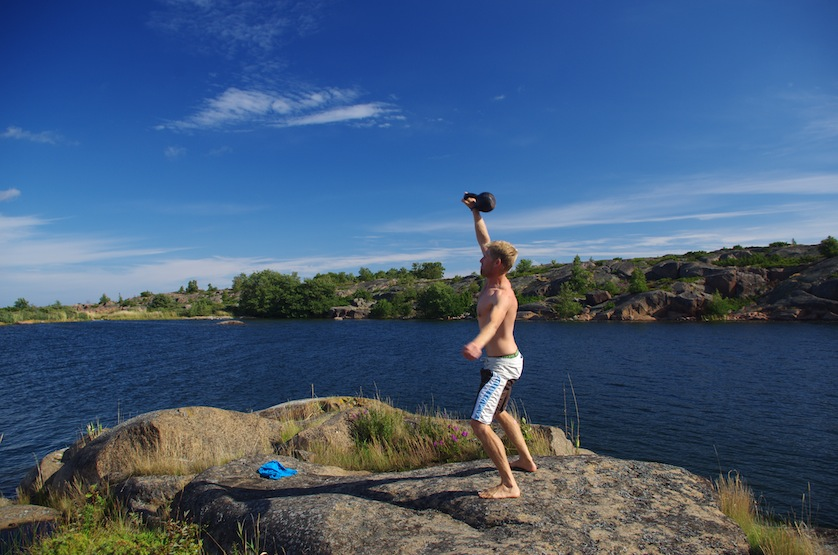 I carry my kettlebell on the boat, which is very handy for exercising