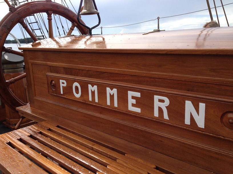 Onboard the 'Pommern' near the helm at the stern.