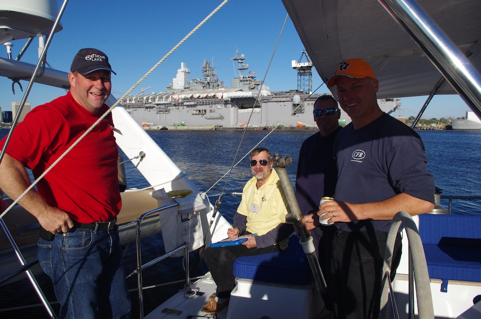 Safety inspections in Portsmouth, with the Naval Shipyard in the background.