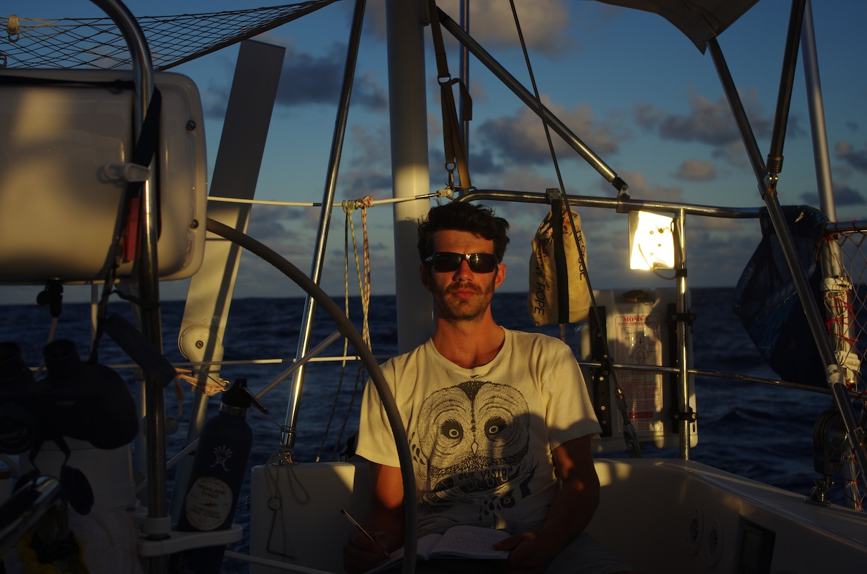Andrew Hassett onboard Kinship last January, enjoying typical tradewind sailing.