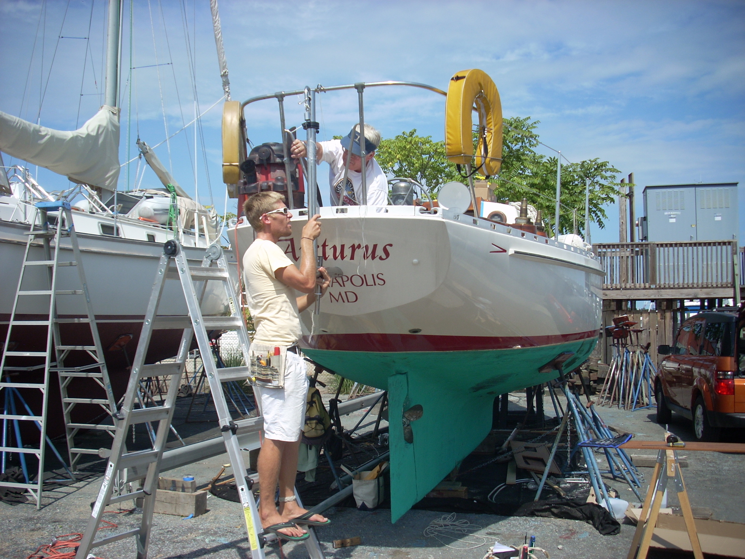 Installing the Cape Horn windvance on Arcturus.