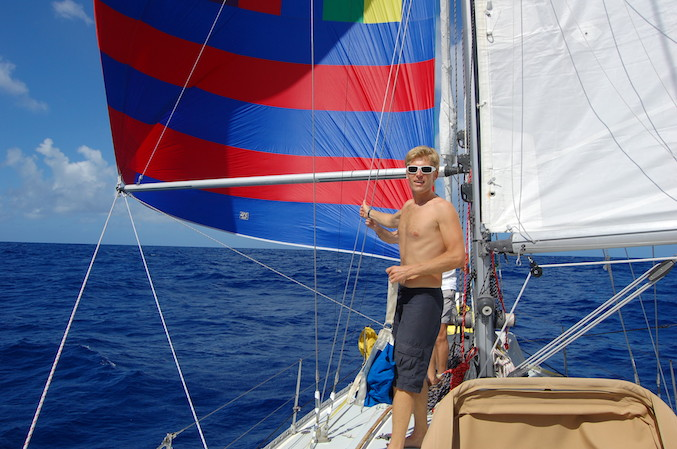 And Andy is looking rather pleased with himself too! Downwind sailing at its best!