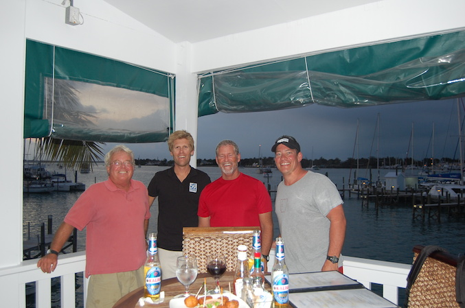 The crew at Curly Tails Bar for the first meal ashore in a week.