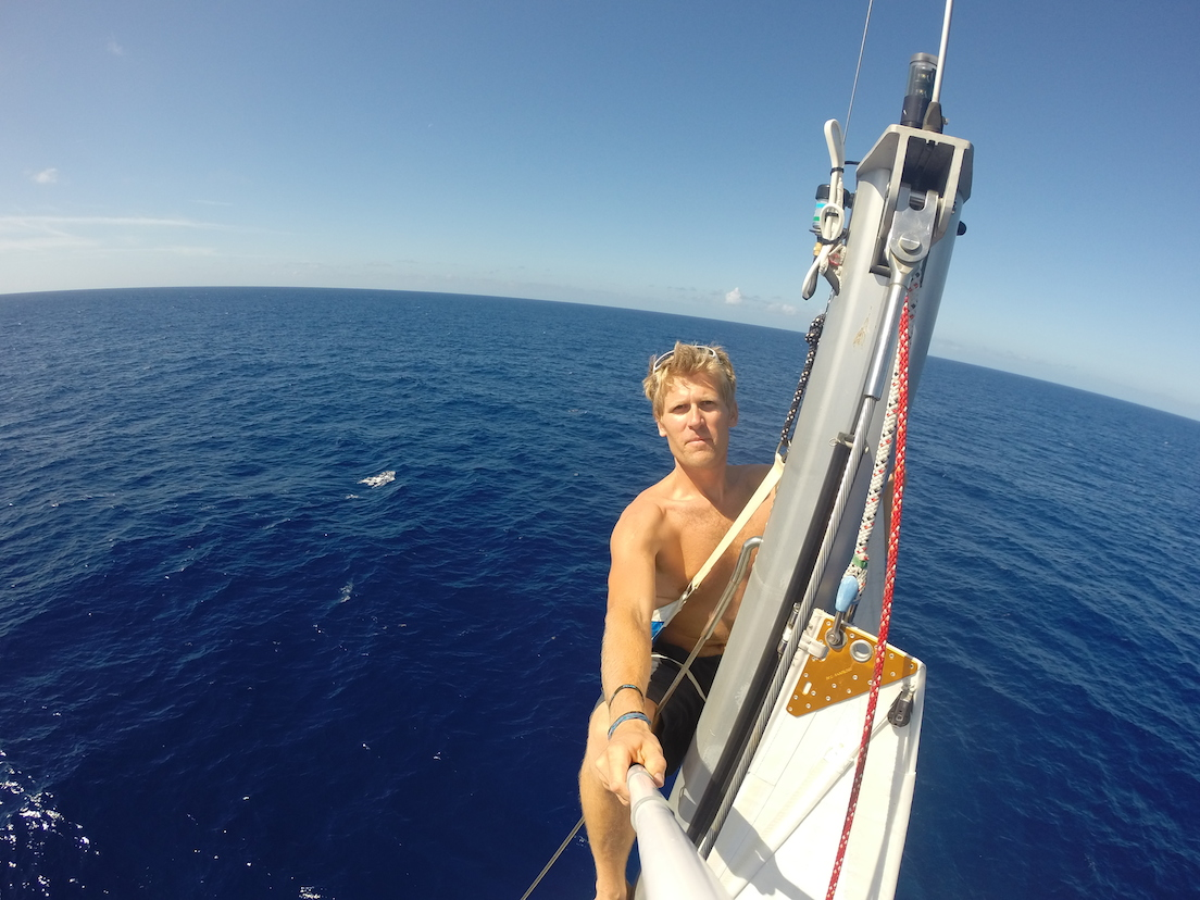 A calm day for some aerial photography at the masthead while under full sail.