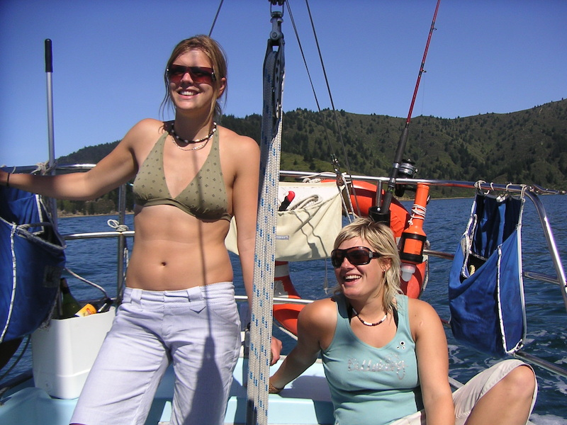 Mia and Johanna, only a week or two after we all first met, sailing in New Zealand. You can use your imagination...