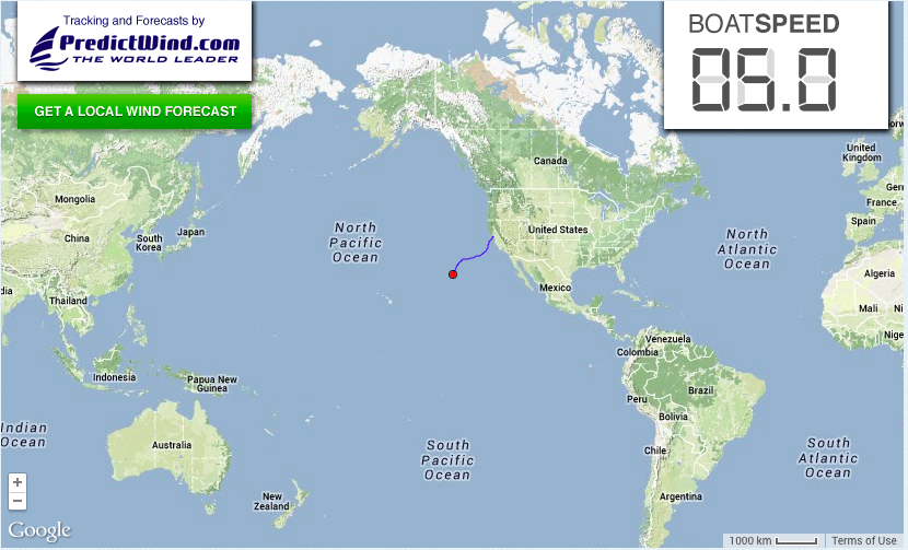 The big picture: Matt & Nicole have a long way to go to cross the world's biggest ocean.