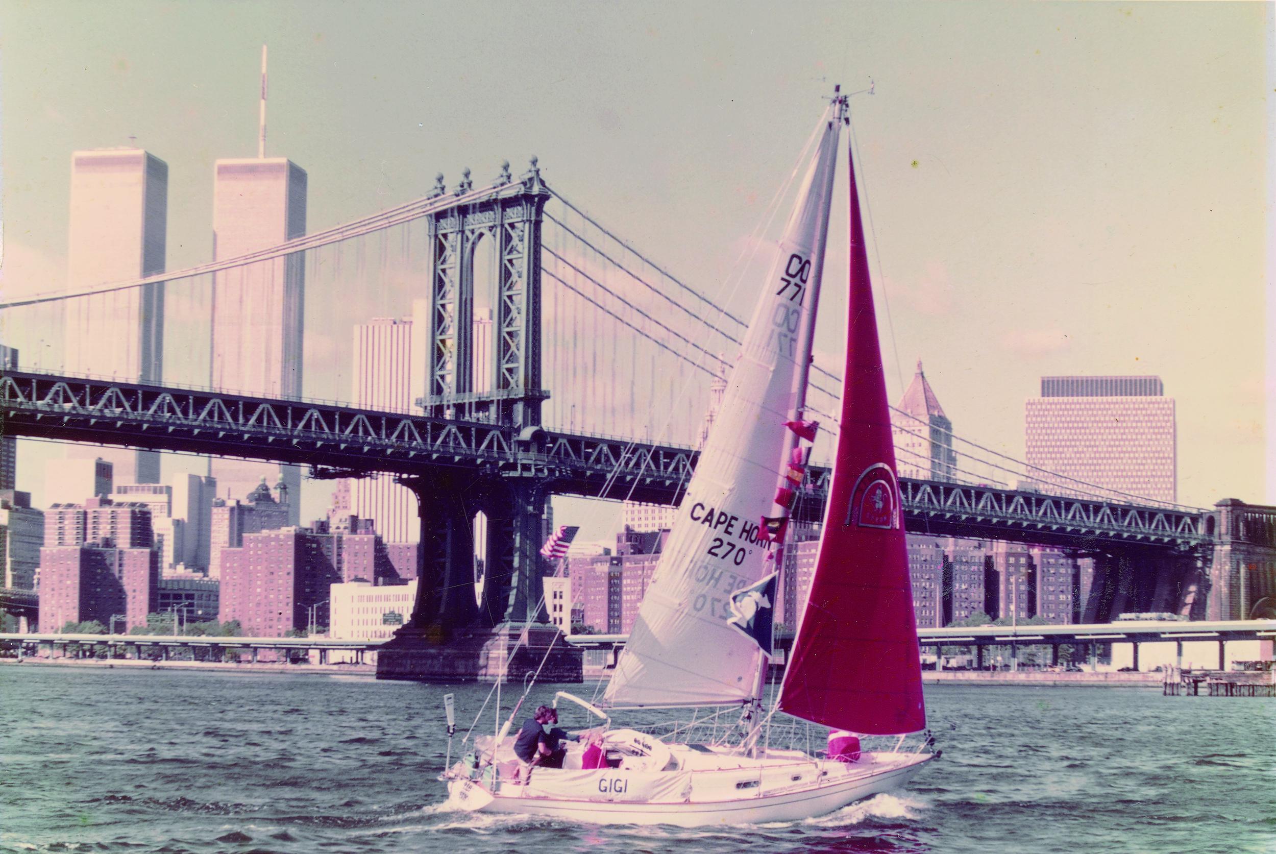 Gigi, the iconic Contessa 32, departing New York harbor