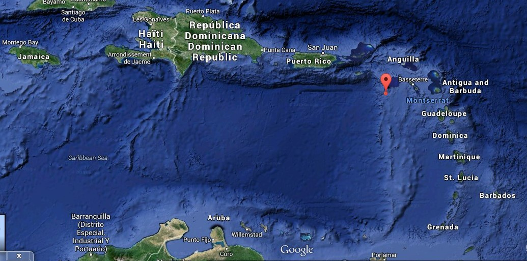 Serenity's position at 8am local time / EST. BVi where they departed are the group of islands to the right of Puerto Rico.
