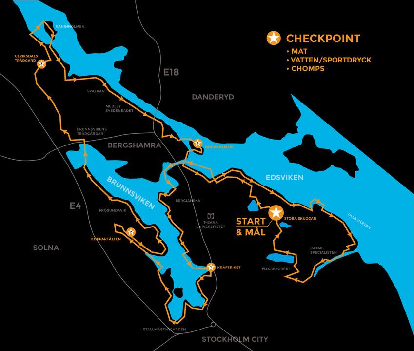 Bansträckningen för Sthlm Swimrun 2015