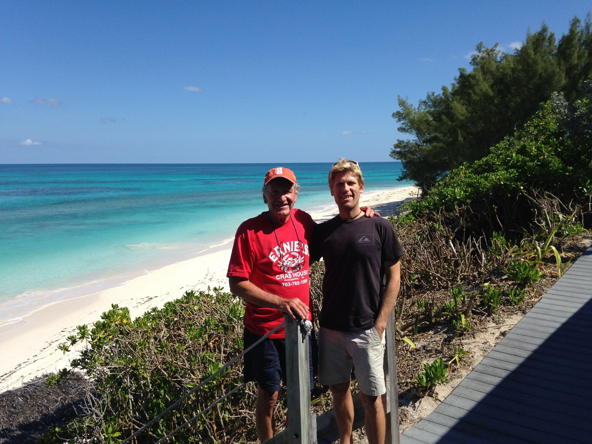 Andy & Tom on his deck overlooking the Atlantic, just outside Hope Town in the Abacos.