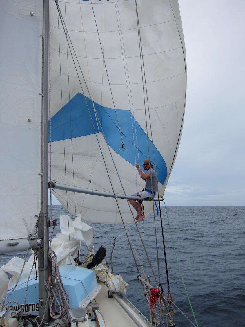 Spinnaker sailing mid-Atlantic, 1,000 miles from Ireland!