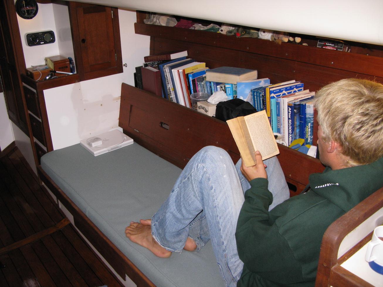 Starboard settee, facing forward.