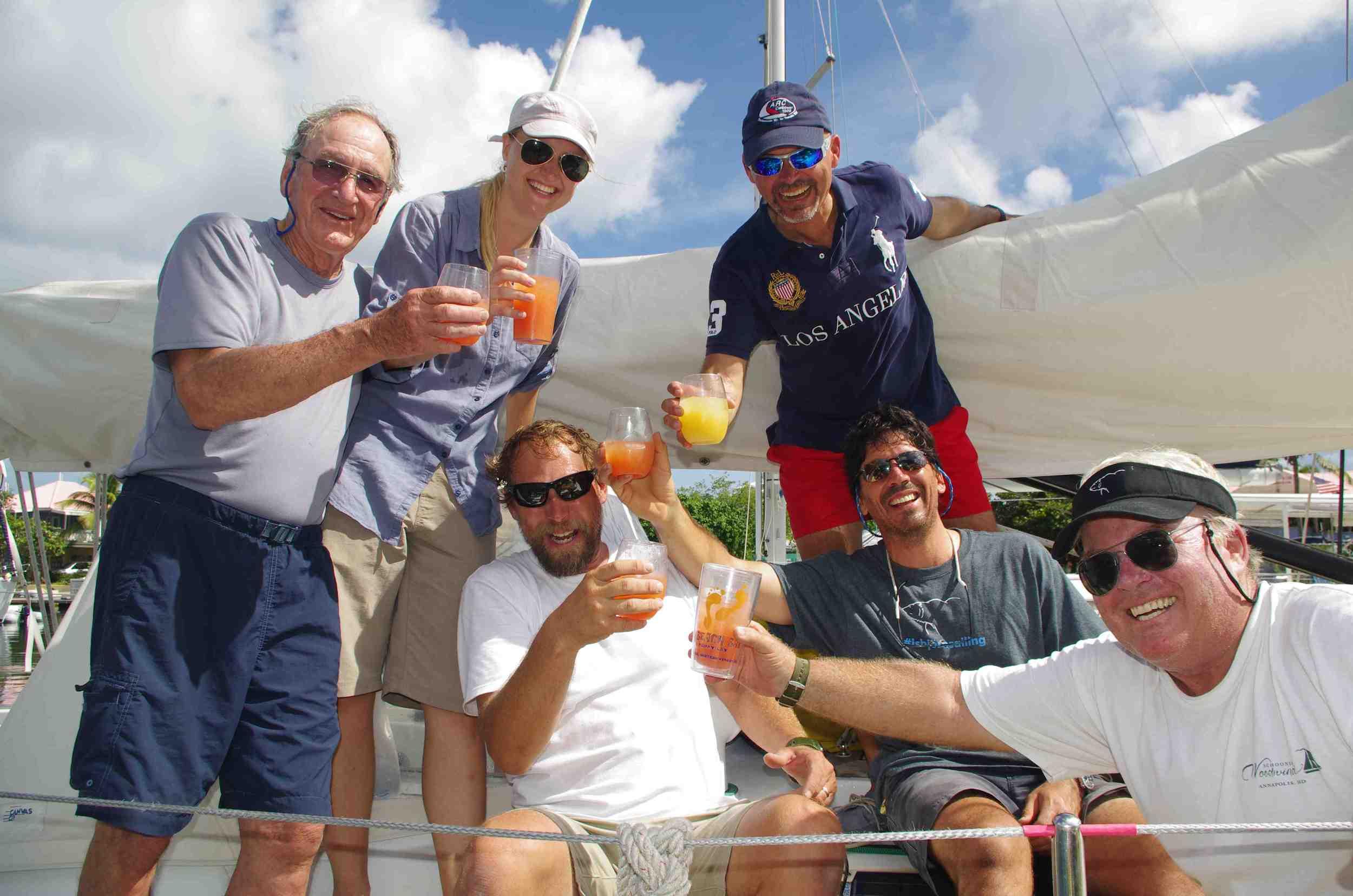 Isbjorn's Caribbean 1500 Crew, from Left: Tom Harkin, Lisa Jodensvi, Capt. Paul Exner, Rik van der Vaart (top), Walter Rush & Dennis Schell.