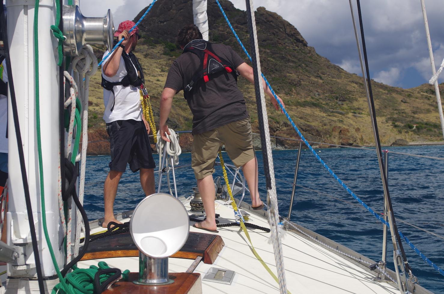 Sailing onto the mooring.