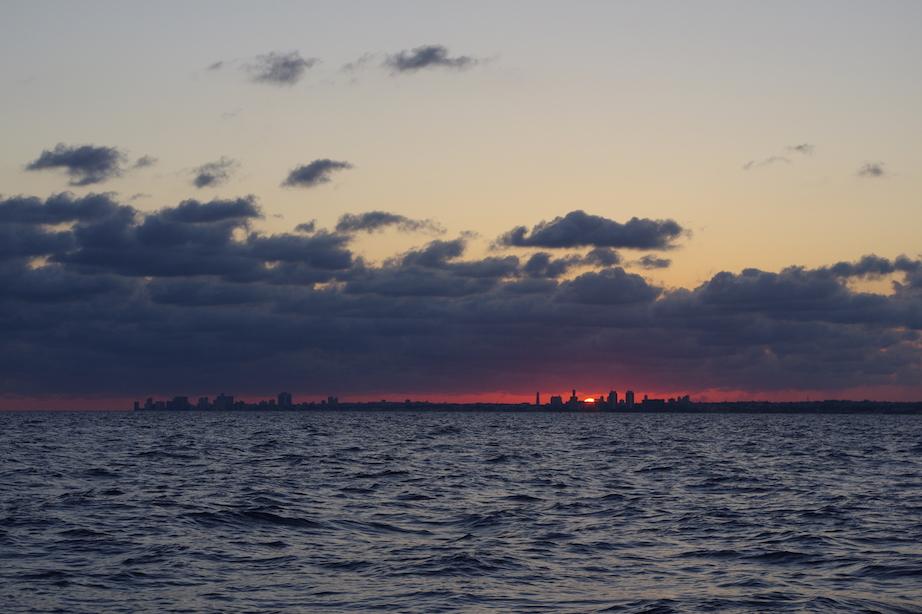 Land Ho! Sunrise over Havana.