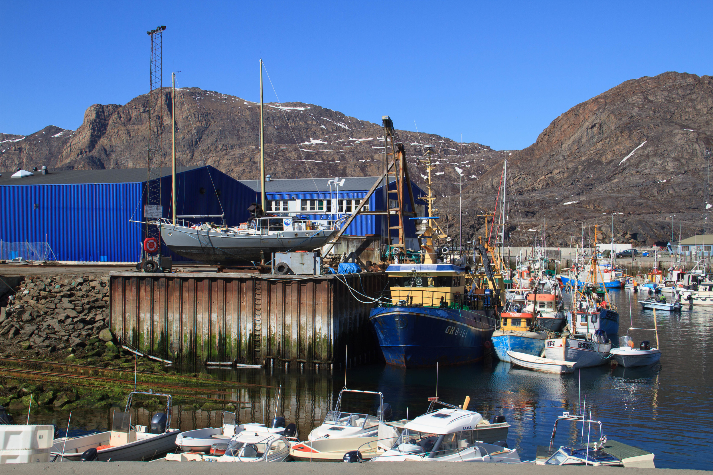 'Ault's' winter berth in the boatyard in Arctic Sisimiut.