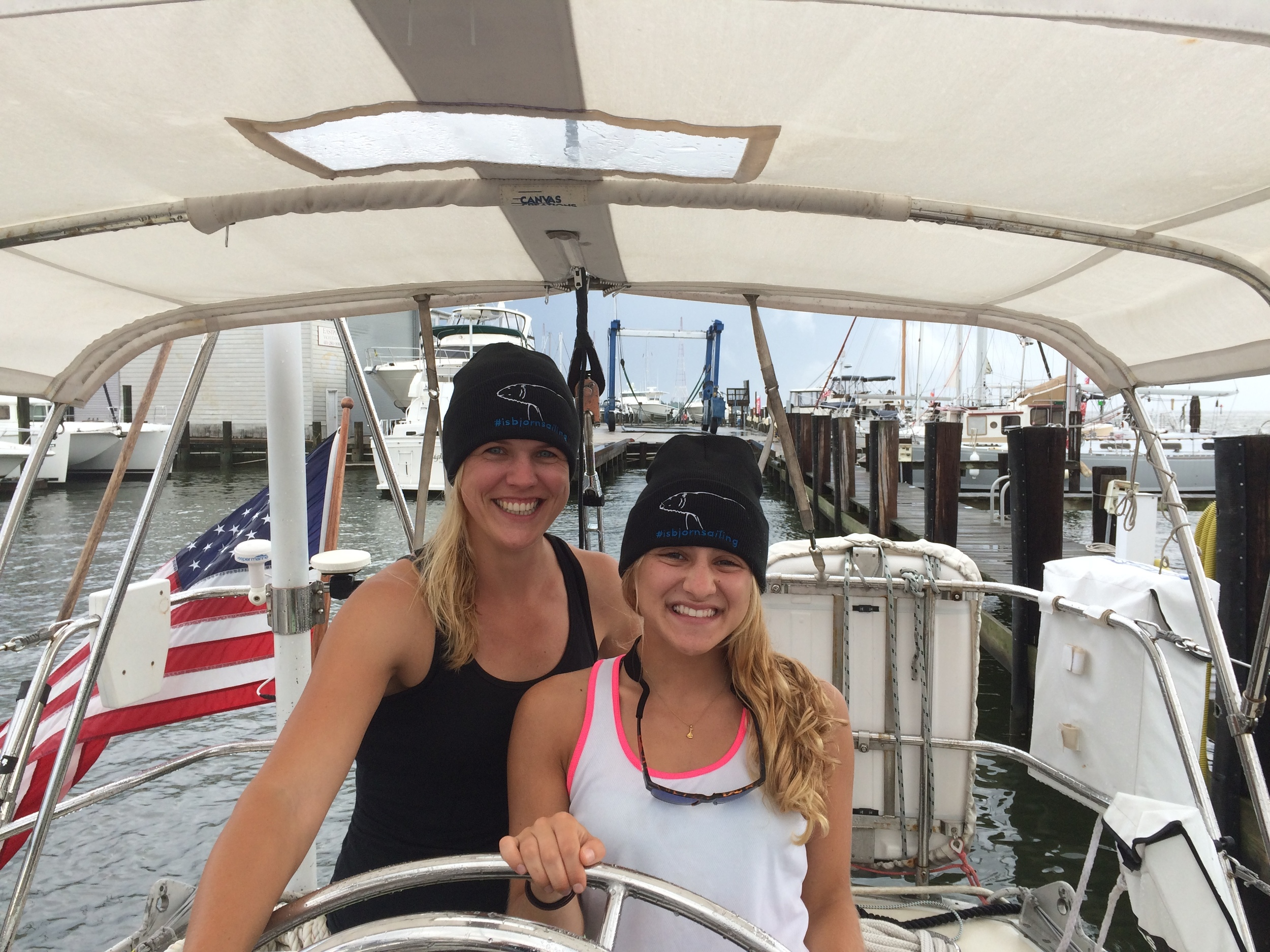 Mia & Liz modeling the new #isbjornsailing beanies prior to departure in Annapolis!