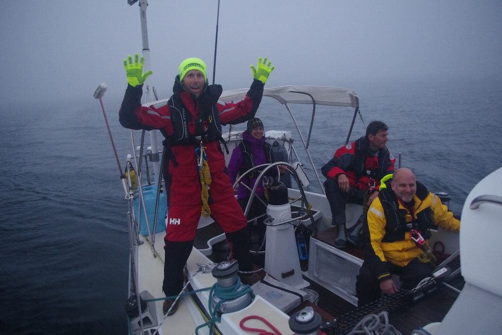 High-vis gloves help in the fog!