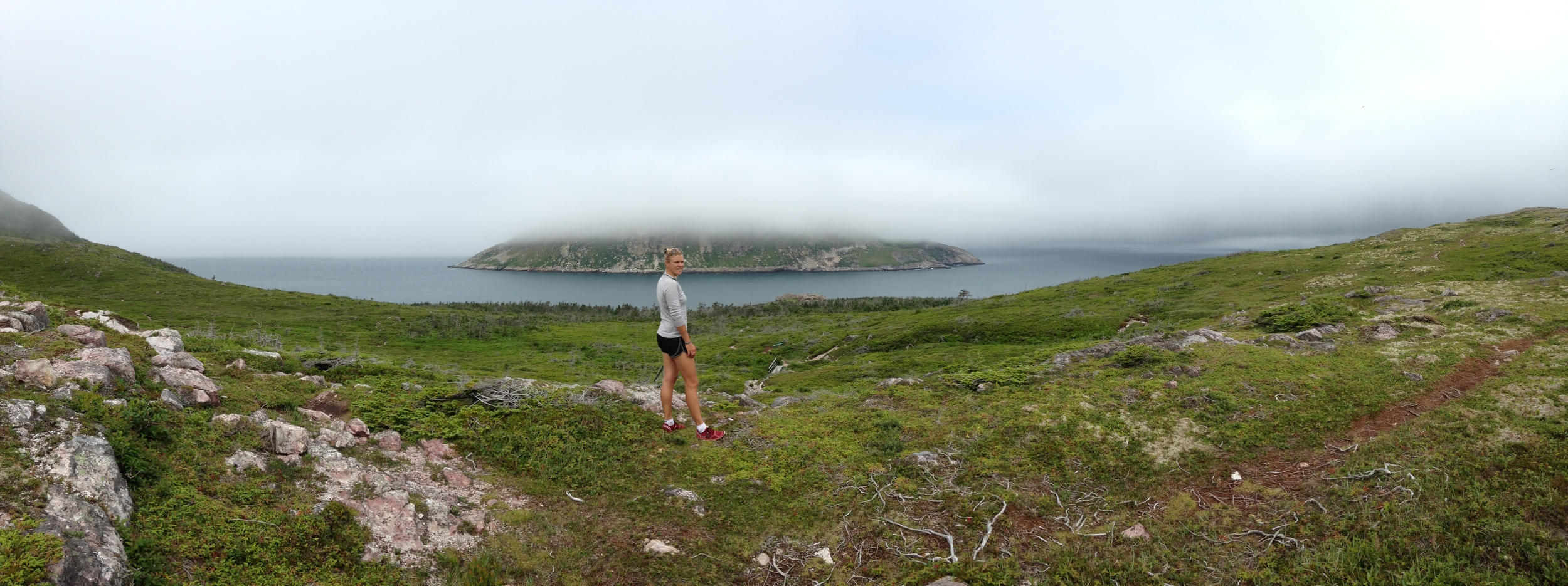 Panoramic view during our hike yesterday. This is facing northwest from St. Pierre - we passed through the channel between islands on  Arcturus in 2011 en route into St. Pierre for the first time.