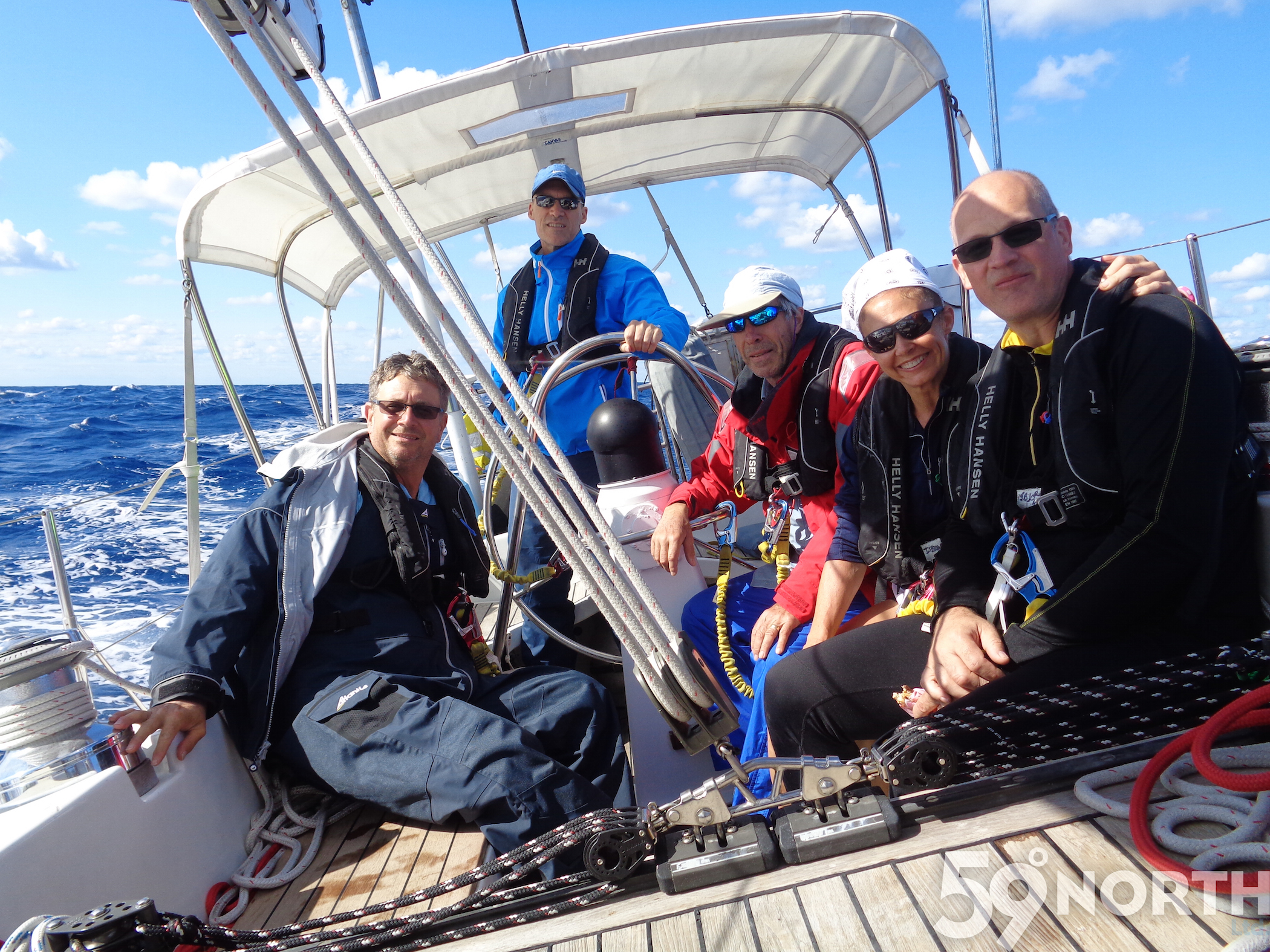 Sailing up from Florida, Chris at the helm with crew Wayne, Bruce, Isabelle and Daniel!